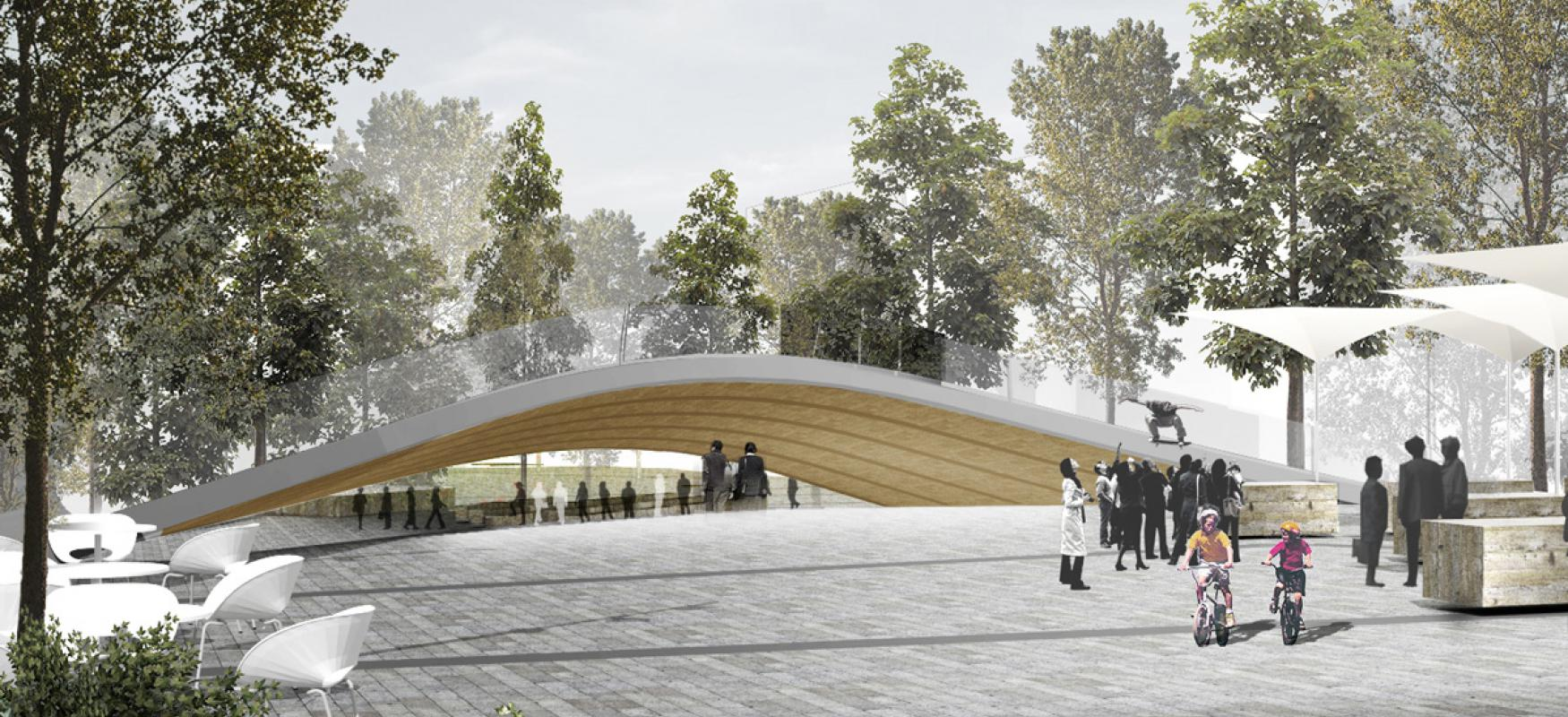 Render of the Flying Carpet project showing Trygve Lies plass in Oslo with a futuristic bridge and people.