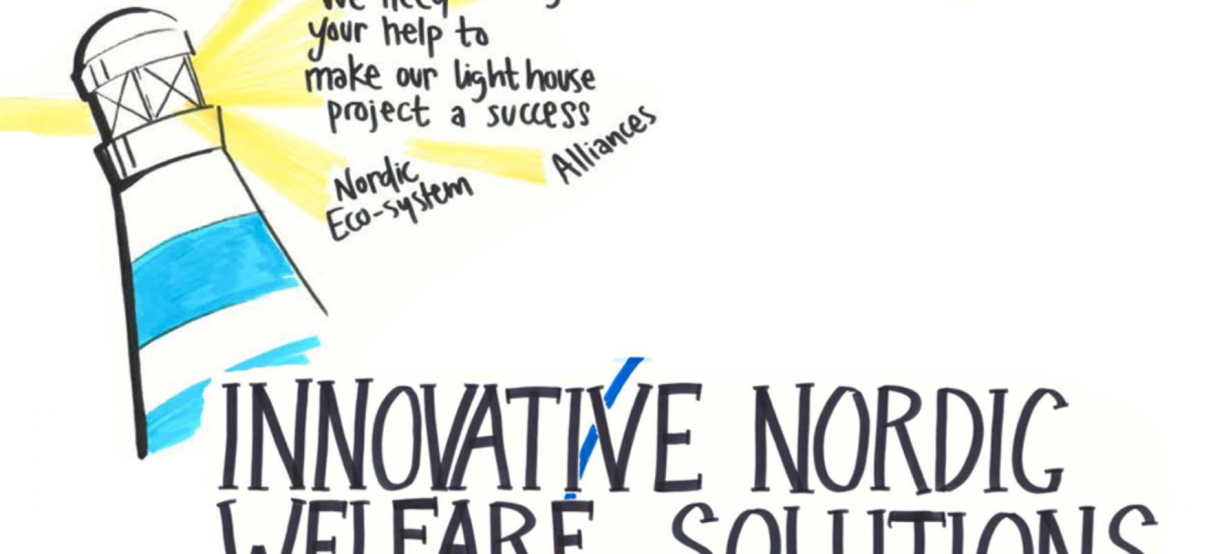 "Drawing showing the text ""Innovative Nordic Welfare Solutions"", a lighthouse and Nordic Innovation's old logo."