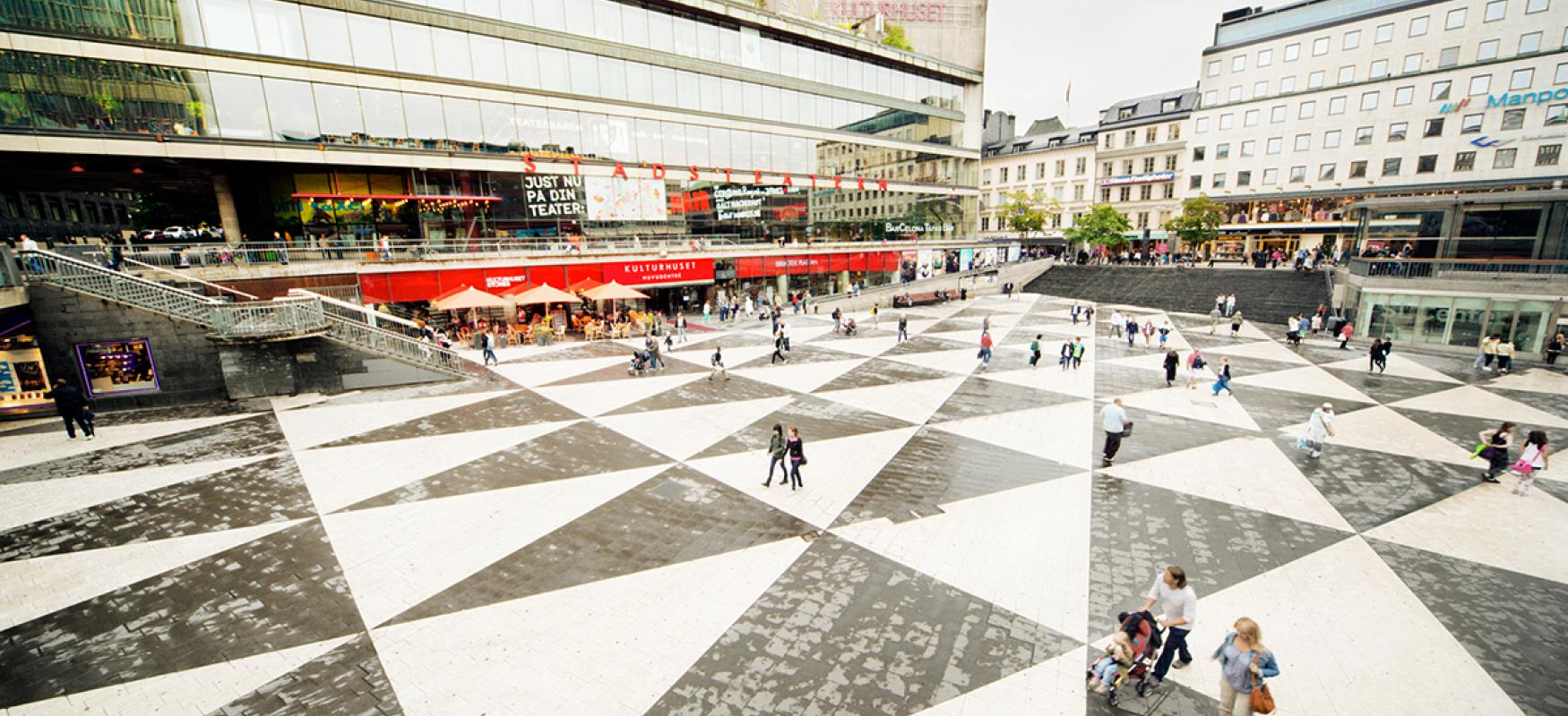 Wide angle photo of Sergels Torg in Stockholm.