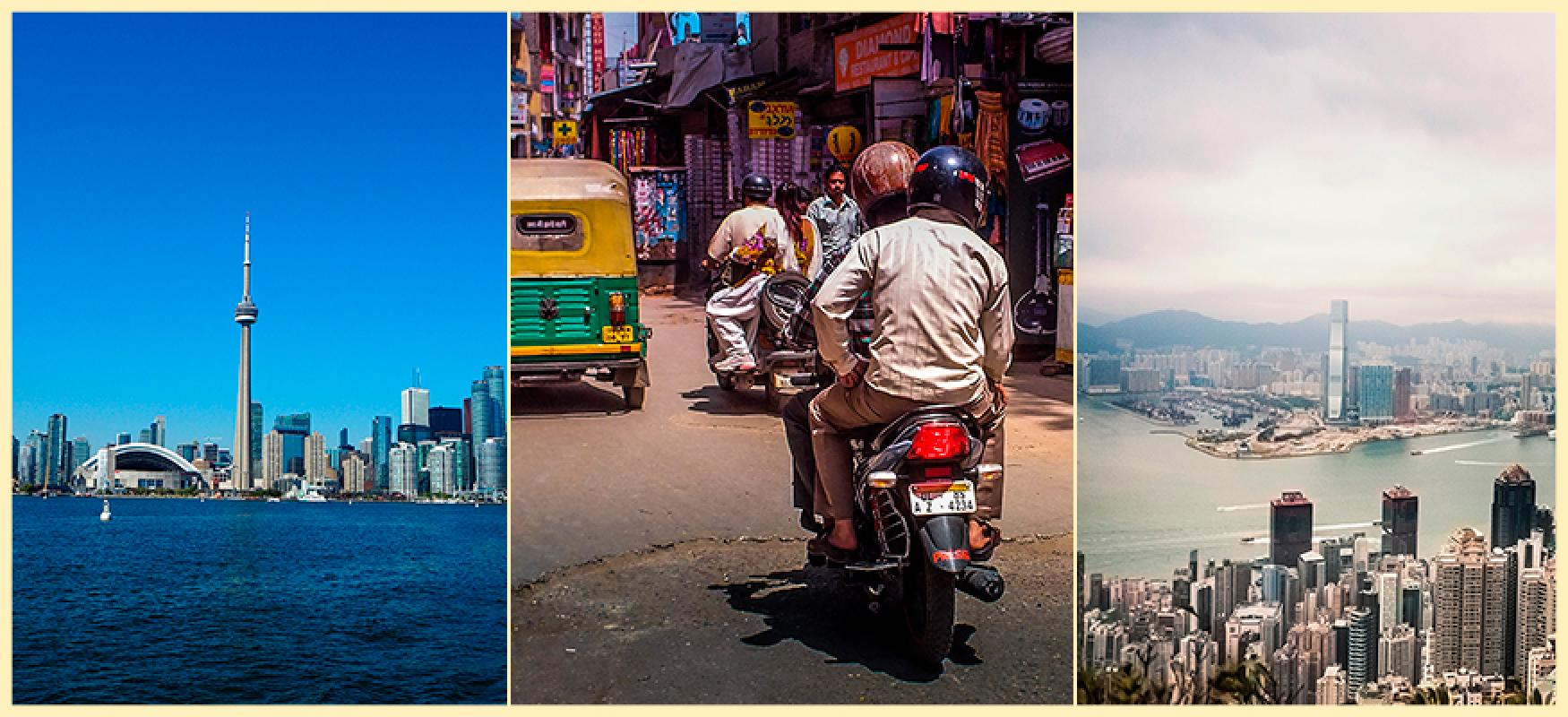 Three photos of the Toronto skyline, a motorcycle in Mumbai and the Hong Kong skyline.