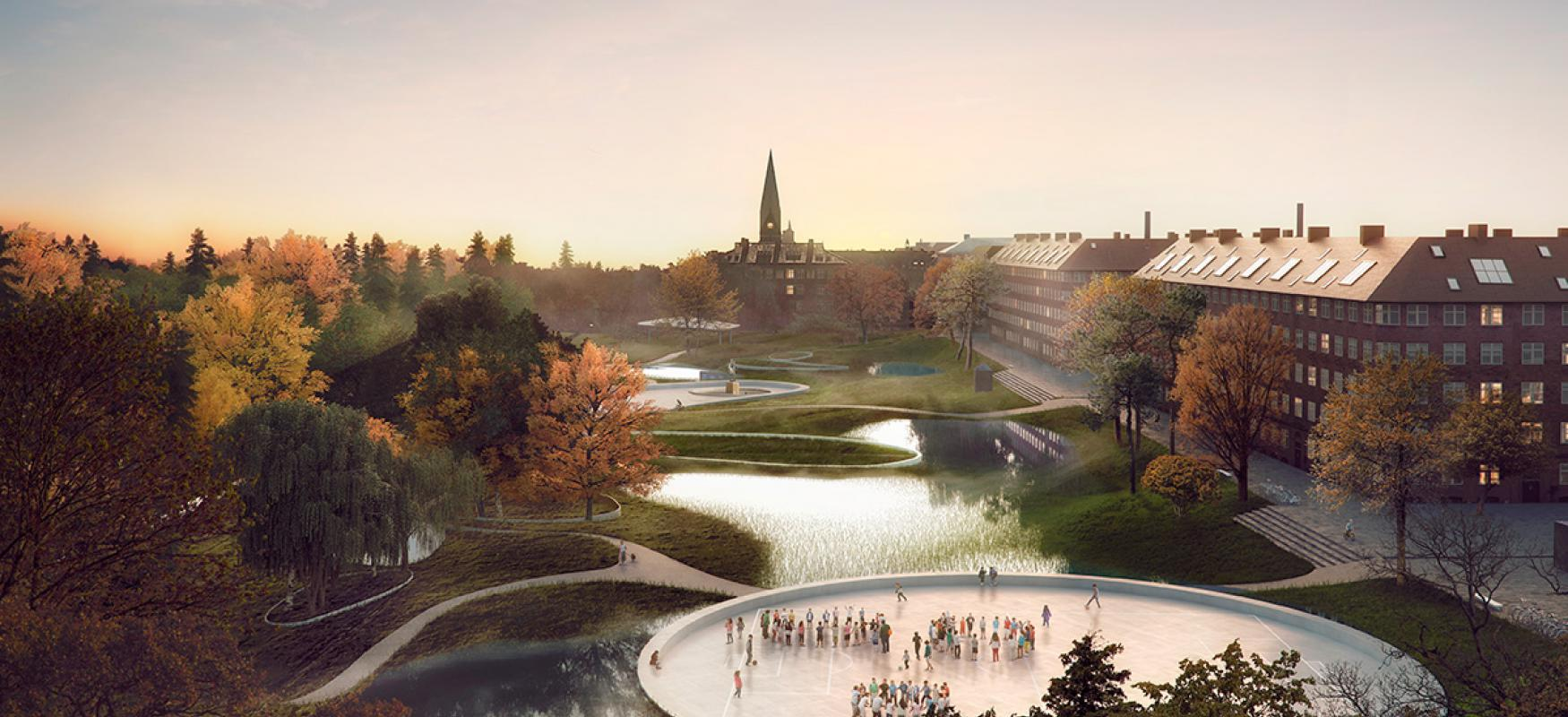 Render of the Soul of Nørrebro project showing Hans Tavsens park in Copenhagen