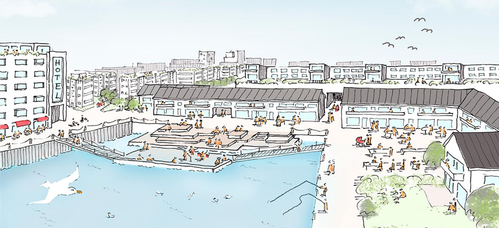 Drawing of the Spot On project showing a future vision of Kársnes Harbour.