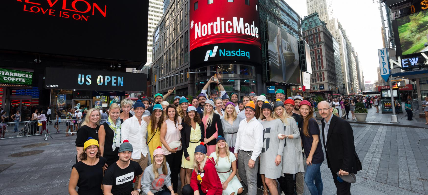 The Nordic Made team is gathered at Times Square in New York