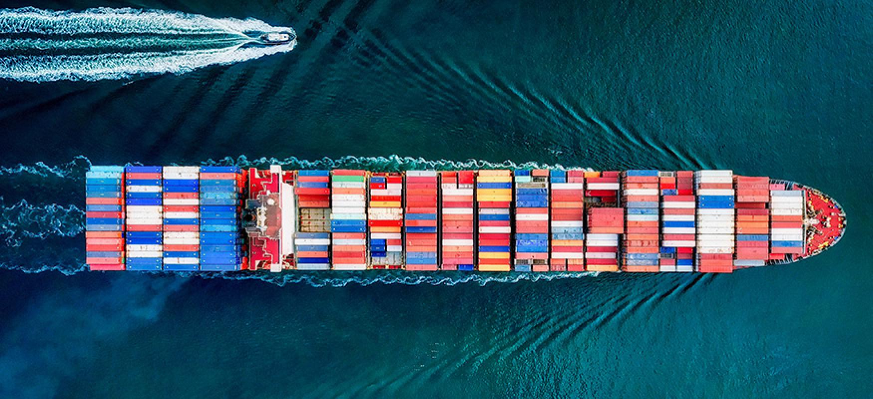 Container ship seen from above.