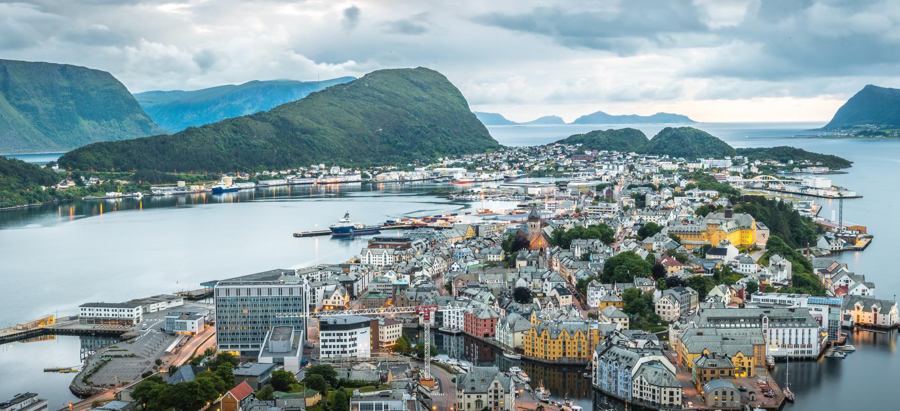 Birds view of Ålesund, Norway on a cloudy day