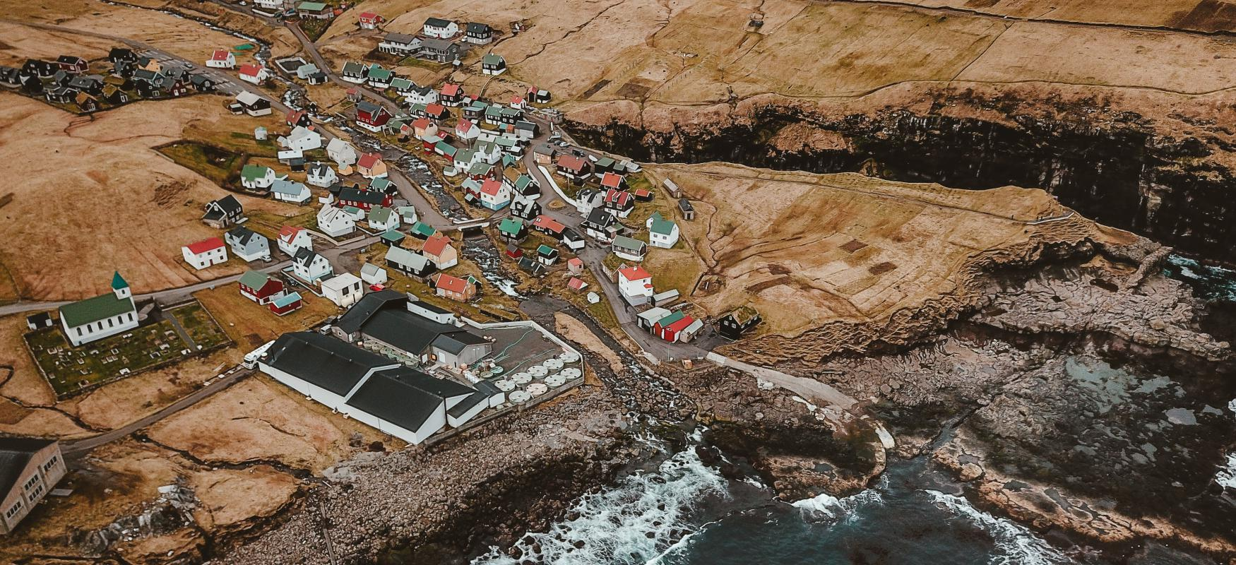 Small town on the Faroe Islands seen from the sky.