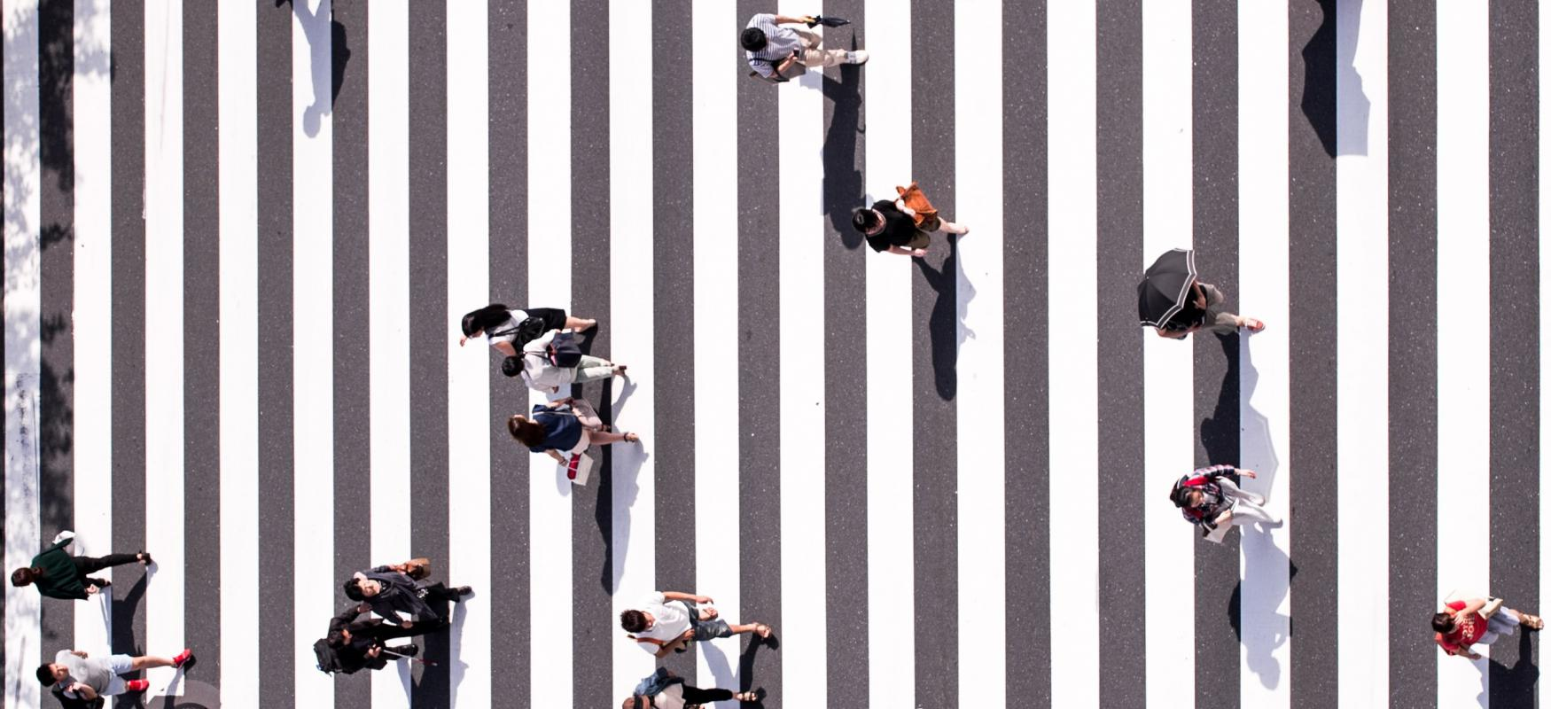 Crossing in japan, seen from above. 2020