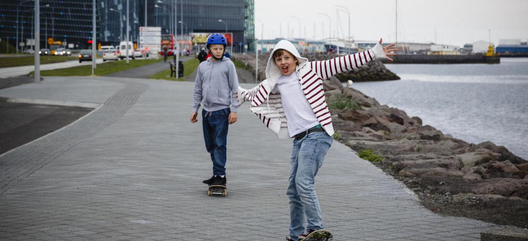Teenagers skating in Reykjavik