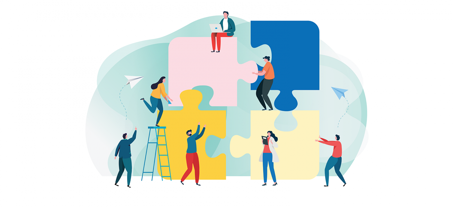 illustration six people climbing a four-piece puzzle