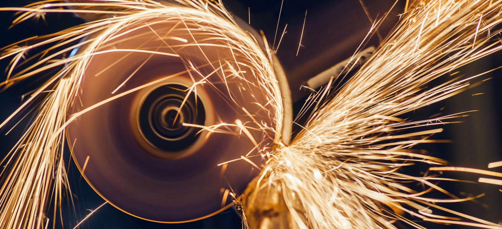 Angle grinder with sparks flying