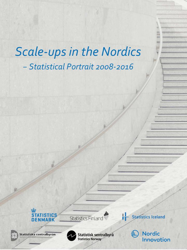Frontpage of Scale-up in the Nordics. Title text and white stairway