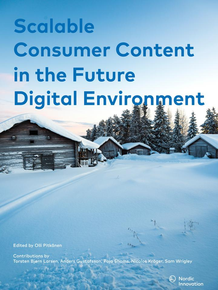 Scalable Consumer content in the Future Digital Environment text on picture of Swedish winter country side