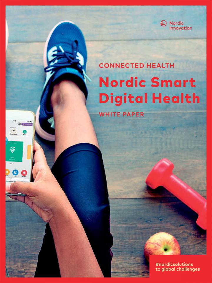 White paper front page showing a woman using a health and lifesyle app sitting on the ground.