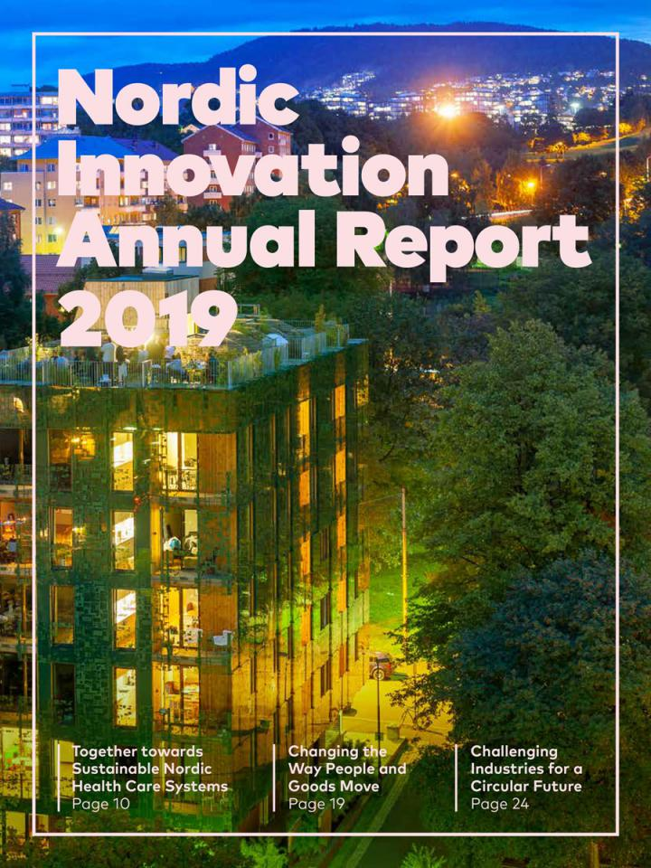 Image of the front page of the annual report showing a green building in Oslo.