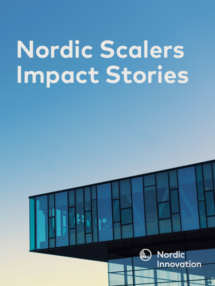 Frontpage: Nordic Scalers Impact Stories written on a picture of a buliding with clear skies in the background.