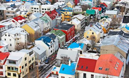 Colored wooden houses in Reykjavik
