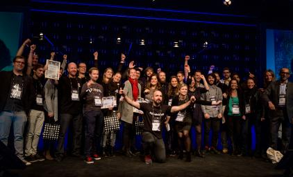 Group picture of participants of Hack4Norden at Slush in 2016.