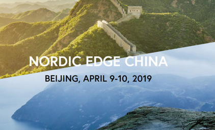 "Photo of the Great Wall of China over a photo of Nordic mountains with the text ""Nordic Edge China""."
