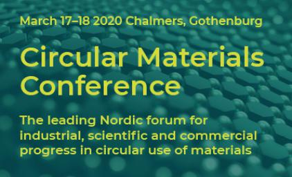 Circular Materials Conference banner. Title written on dotted background, 2020