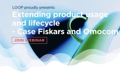 Text: Extending product usage and lifecycæe - Case Fiskars and Omocon. Join Webinar. LOOP logo in the bottom right corner.