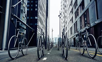 Installation placed in Oslo of metal bikes standing side by side.