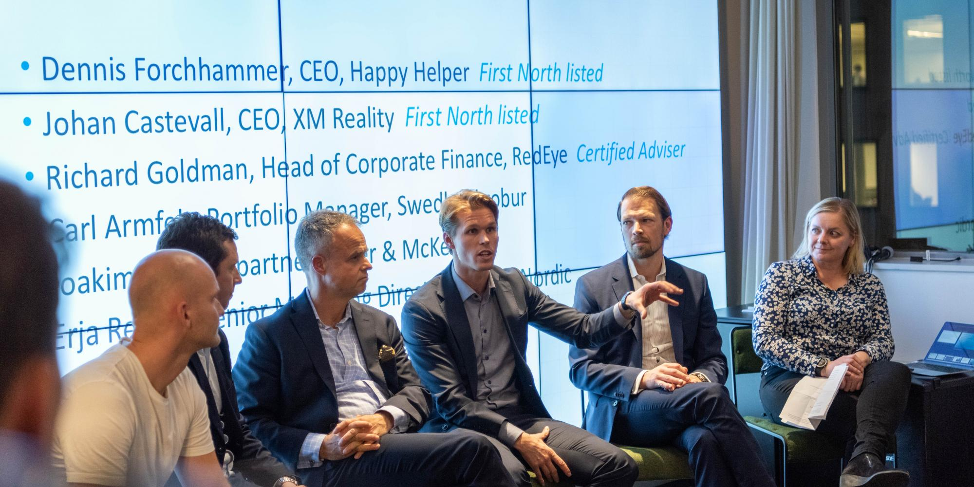 The panel of the Nordic IPO Clinic, moderated by Erja Retzén of Nasdaq Nordic (far right).